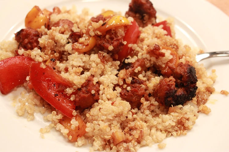 Spicy Italian Sausage and Peppers on Quinoa — Girl in the Mini